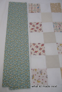 Binding beside quilt top