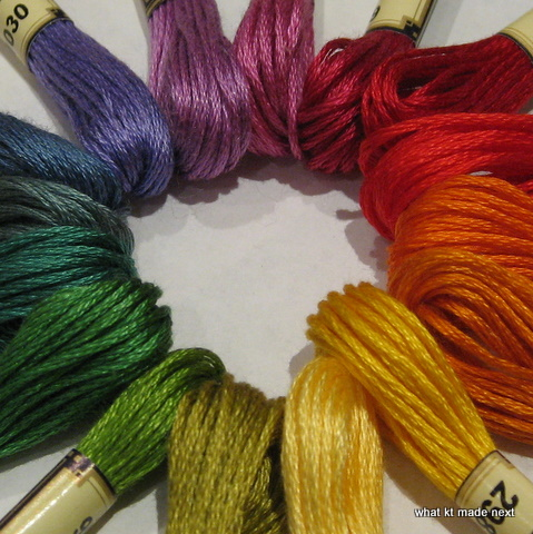 Colour wheel embroidery threads