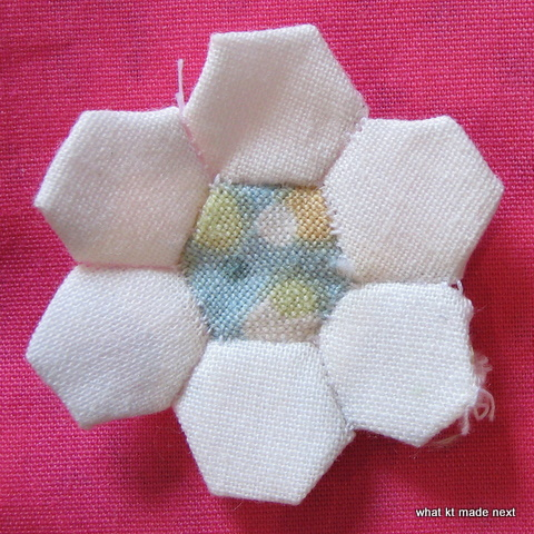 "Hexagon flower made from 1/2"" hexagons"